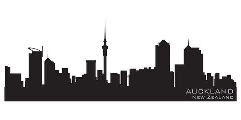 Auckland, New Zealand skyline. Detailed vector silhouette