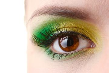 beautiful female eye with bright make-up