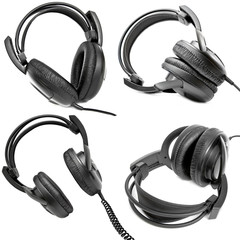 Headphones isolated on white, set