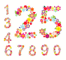 set of numbers in floral style