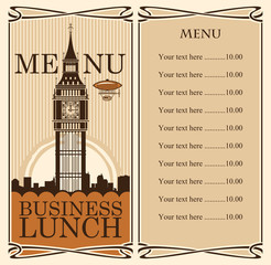 menu with Big Ben in London against backdrop of