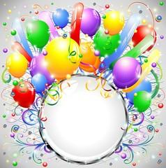 Compleanno Palloncini e Cornice-Birthday Balloons Crystal Frame