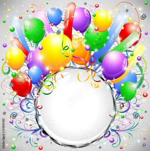 Compleanno Palloncini E Cornice Birthday Balloons Crystal Frame