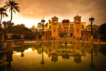 Mudejar Pavilion and pond at sunset. Sevilla, Spain