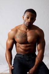 Strong black man looking at the camera