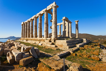 Fototapete - Poseidon Temple at Cape Sounion near Athens, Greece