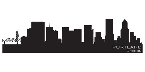 Wall Mural - Portland, Oregon skyline. Detailed vector silhouette