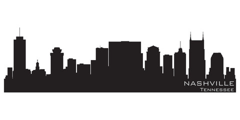 Fototapete - Nashville, Tennessee skyline. Detailed vector silhouette