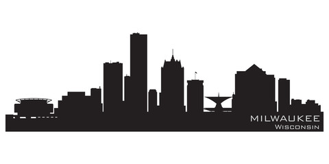 Fototapete - Milwaukee, Wisconsin skyline. Detailed vector silhouette
