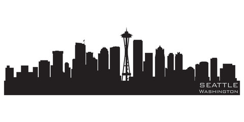 Fototapete - Seattle, Washington skyline. Detailed vector silhouette