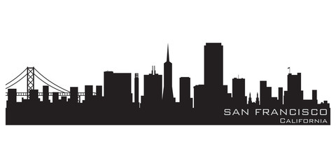 Fototapete - San Francisco, California skyline. Detailed vector silhouette