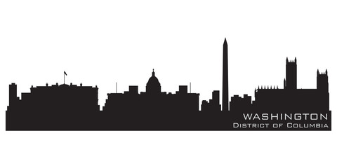 Washington, District of Columbia skyline. Detailed vector silhou