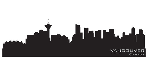 Wall Mural - Vancouver, Canada skyline. Detailed vector silhouette