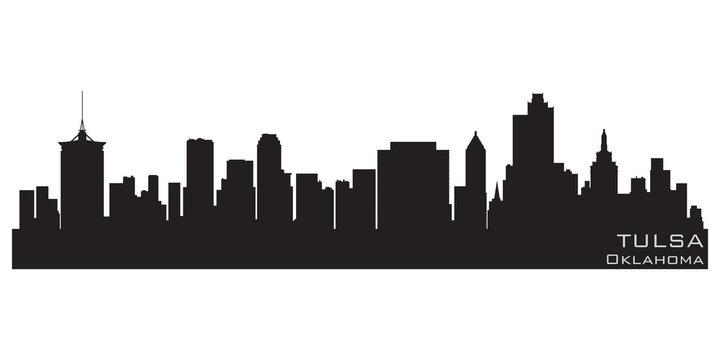 Tulsa, Oklahoma skyline. Detailed vector silhouette