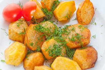 Fried potato with fennel