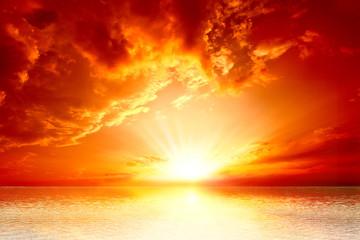 Foto auf Leinwand See sonnenuntergang red sunset