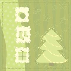 Christmas greeting  card with symbols of a Christmas