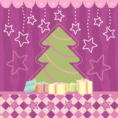 Christmas greeting card with stars