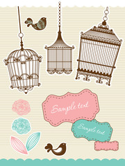 Deurstickers Vogels in kooien scrapbook elements with vintage birdcage
