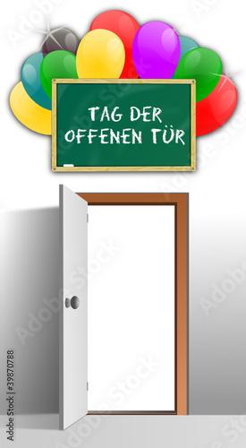 Tag der offenen tür schild  Backsteinwand mit Tür - Tag der offenen Tür