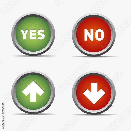 Instant Yes Button : Quot pfeil ja nein yes no rot grün kreis rund button haken ok