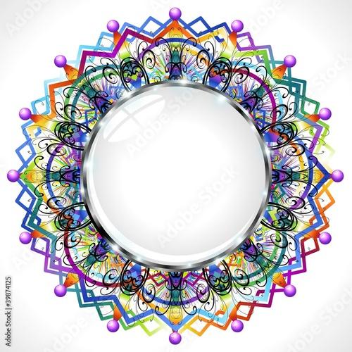 Mandala Cornice Cristallo Mandala Crystal Frame Vector Immagini E