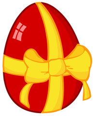 Red Easter Egg With Ribbon