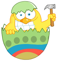Chick With A Big Toothy Grin, Peeking Out Of An Egg With Hammer
