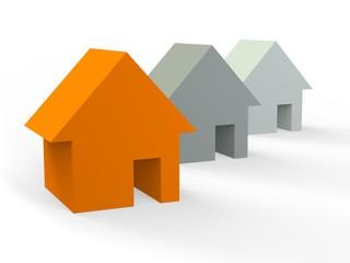 Three houses (orange,grey,white)