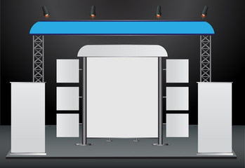 blank trade show booth and roll up banner display
