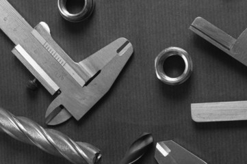 Details, drills and measuring tools, a close up