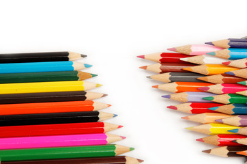 Colorful pencils on the white background.