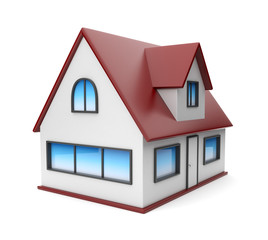 Small house. Icon 3D. Isolated on white background