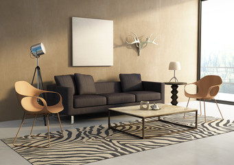 Safari theme interior living room, animal print perspective