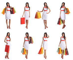 A collage of young women in a dress and holding bags