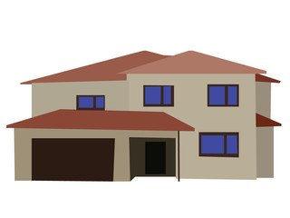 Vector image of two floored house