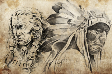 Wall Mural - Tattoo sketch of American Indian warriors
