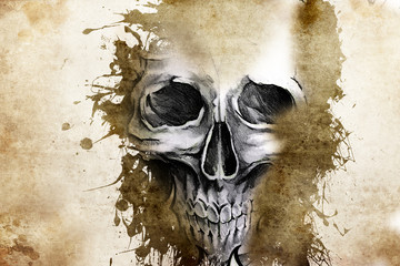 Wall Mural - Tattoo evil design with skull