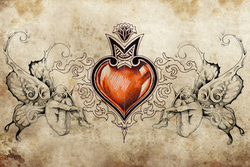 Wall Mural - Tattoo art design, heart with two nymphs on each side