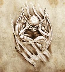 Sketch of tattoo art, anger monster