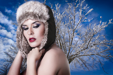 sexy naked woman with winter hat