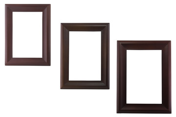 Three blank wood image frame isolate white background