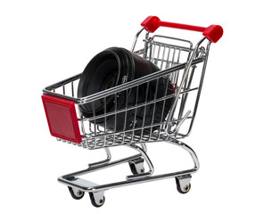 Shopping Cart with a camera lens