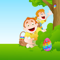 Kids Playing with Easter Egg