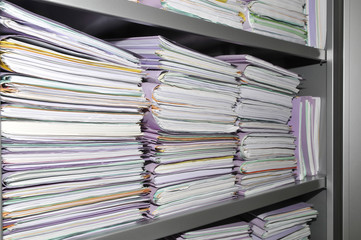 Some stacks of paper folders
