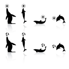 Marine animals silhouettes with football and Earth symbols