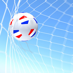3d rendering of a Netherlands flag on soccer ball in a net