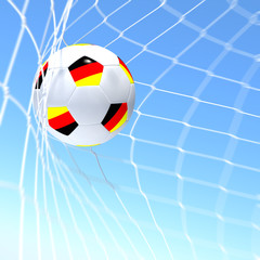 3d rendering of a germany flag on soccer ball in a net
