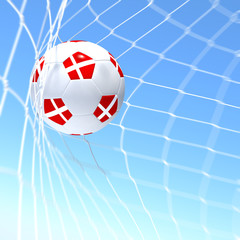 3d rendering of a Denmark flag on soccer ball in a net