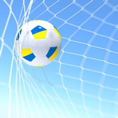 3d rendering of a Ukraine flag on soccer ball in a net